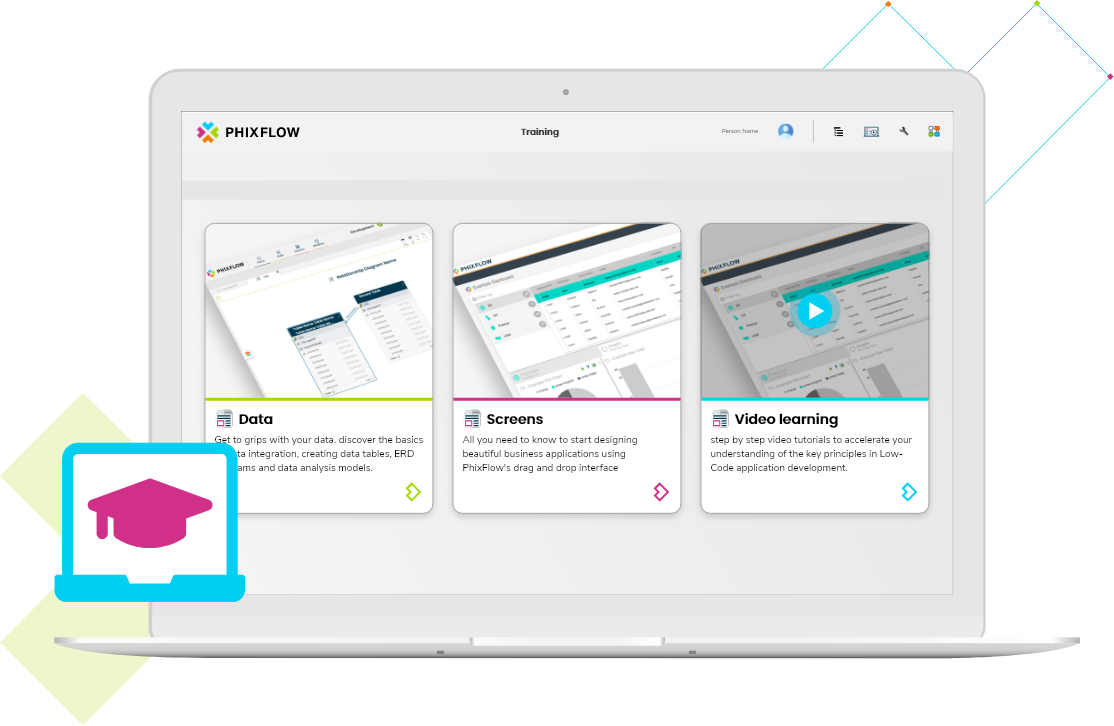 PhixFlow Low-Code app Development: Hosted Training Systems